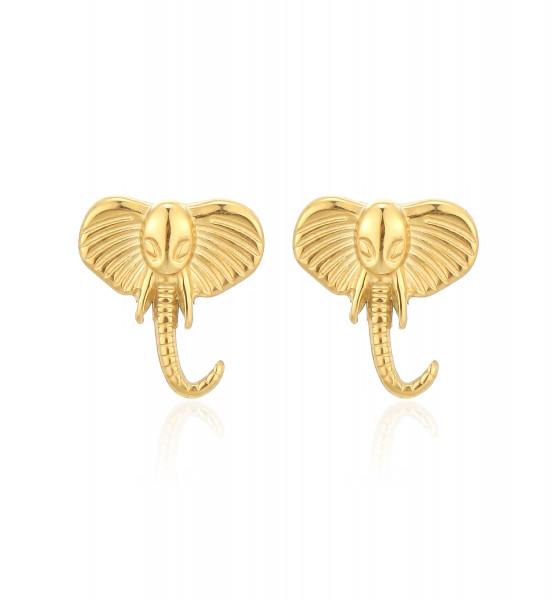 Ohrstecker Edelstahl Elefant Gold