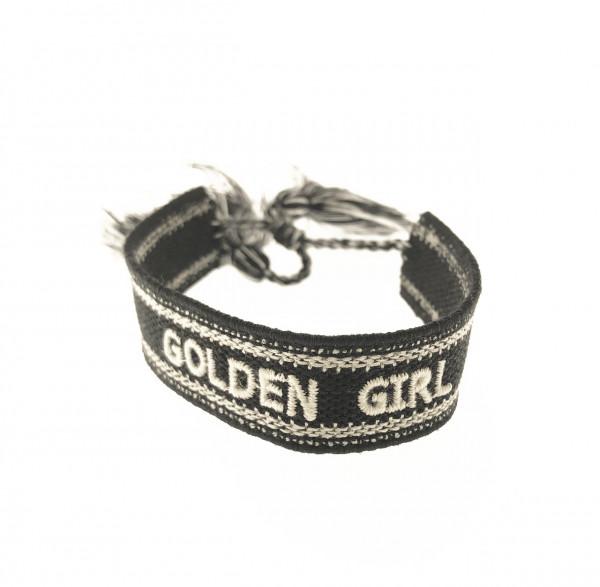 Golden Girl Stoffarmband In Schwarz
