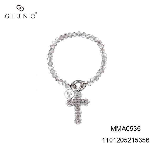 Kristall Armband Mit Geflochtete Kreuz Anhänger In Hell Grau