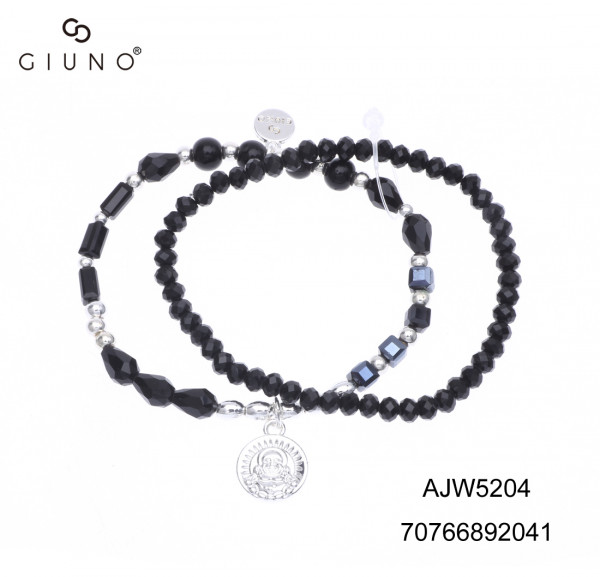 Kristallperlenarmband Schwarz Mit Silberanhänger Buddha