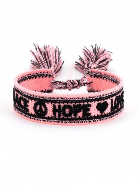 "Stoffarmband ""Peace Hope Love"""