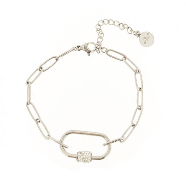 Schmaler Gliederarmband Aus Edelstahl Mit Ovalem Anhänger In Silber