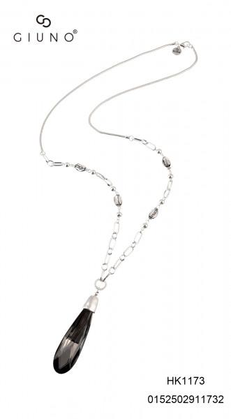 Metall Silber Kette Lang Mit Grossem Kristallsteigoldton