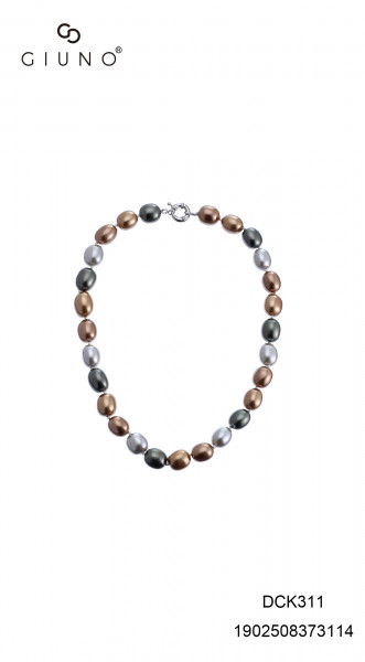 Perlenkette kurz oval Gold-Beigetöne