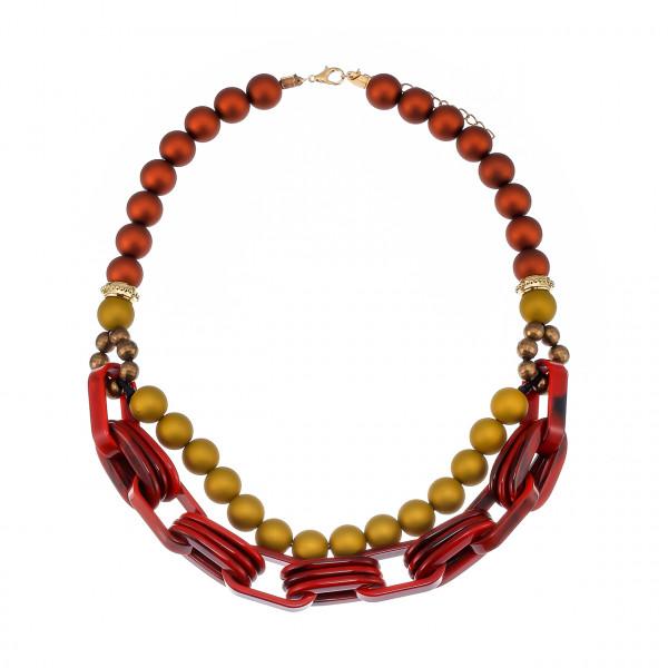 Kette Kurz Mit Acrylperlen In Rot Goldtöne
