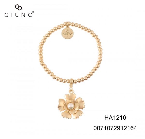 Armband Metall Mit Blumenanhang Gold Matt