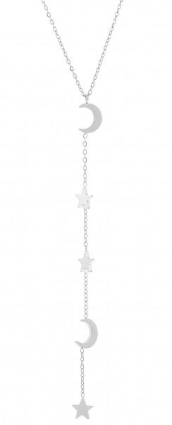 Edelsthalkette In Y-Form Mit Stern & Halbmund-Anhänger In Silber