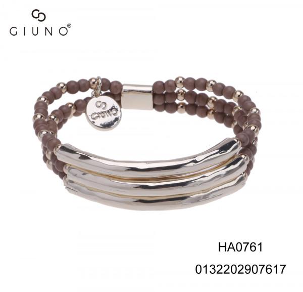 Metall Armband mit Spangen mit gold und braunen perlen