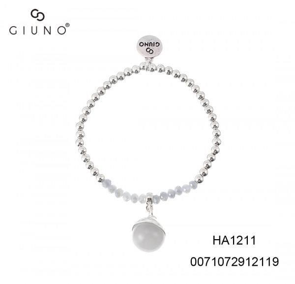Metallperlen Und Glaskristallperlen Armband Mit Glaskugelanhange Silber