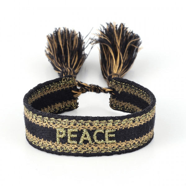 Peace Stoffarmband In In Schwarz/Gold