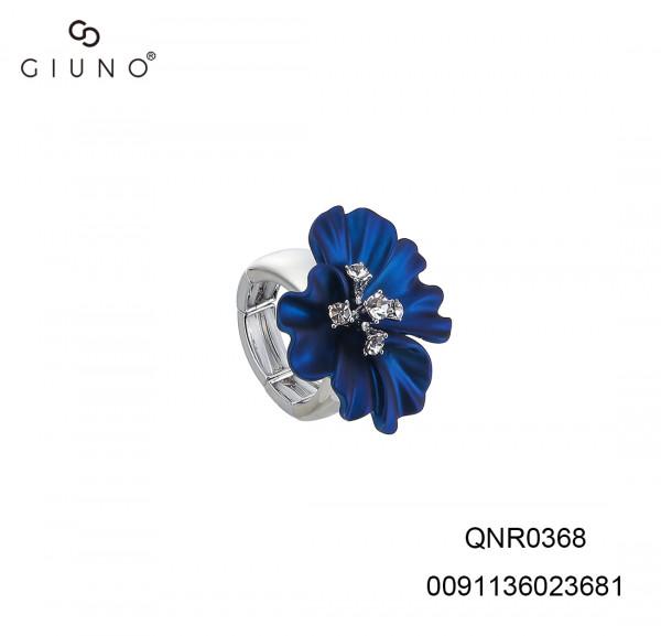 Metallring silber mit Blume blau und Strasssteinen