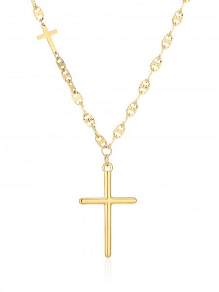 Edelstahlkette Gold Mit Kreuzanhänger