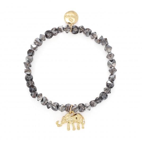 Armband Aus Glasperlen In Grau Mit Elefant-Anhänger