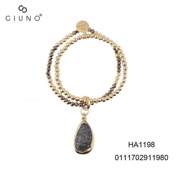 Metalperlen gold u. Kristallperlen Armband mit oval grau Sand Glitzer