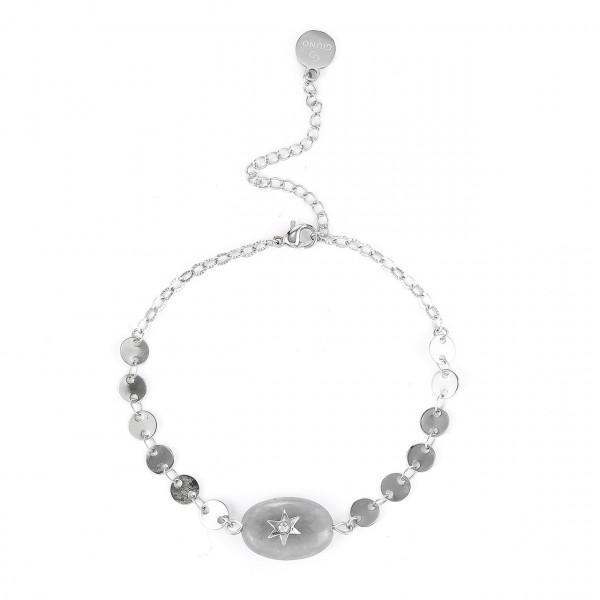 Edelstahl Armband In Silber Mit Natur Stein