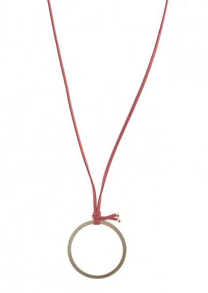 Wildlederkette Pink Lang Mit Silber Metallring