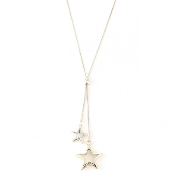 Metalkette mit doppelte Sternenanhänger gold