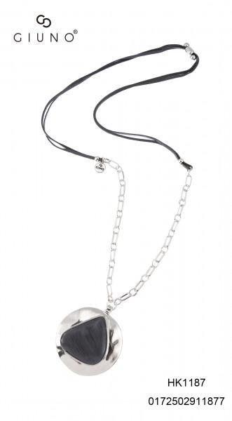 Schwarz/Grau Velour Und Silber Metallkette Mit Anhänger Silber