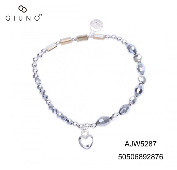 Kristall-Metallarmband Silber Mit Herzanhänger Silber