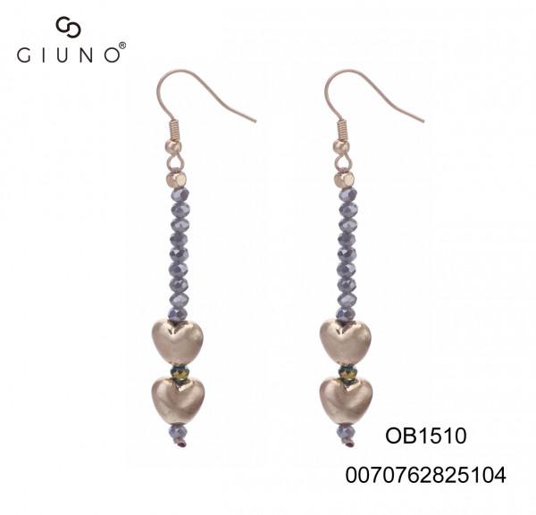 Ohrringe mit grauen Glaskristallen und Metallherzen gold glänzend
