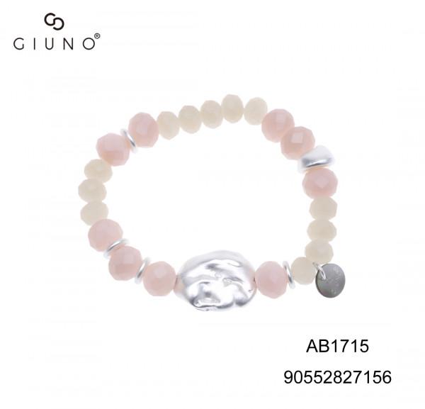 Kristallperlenarmband Rosa-Graunton Mit Applikationen Silber Und Behautem Stein