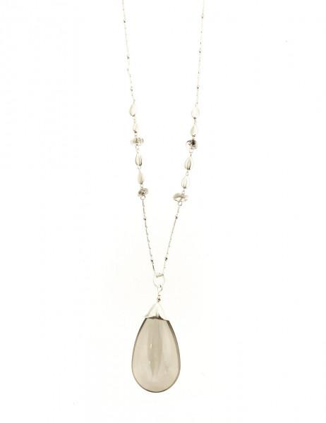 Metallkette Silber Mit Grossem Glastropfstein In Grau