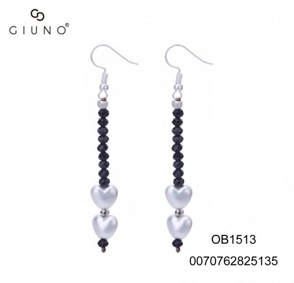 Ohrringe mit schwarzen Glaskristallen und Metallherzen silber