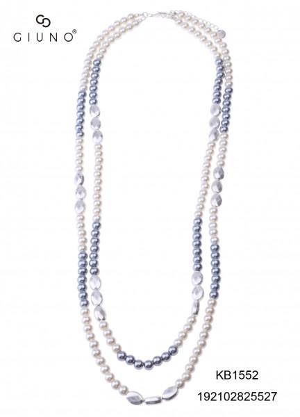 Perlenkette Lang Weiss Mit Blau-Silbernen Perlen