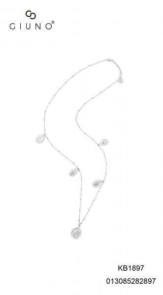 Metallkette Lang Mit Münzenanhänger In Silber