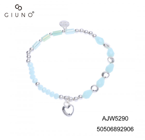 Kristall-Metallarmband Babyblau/Silber Mit Herzanhänger Silber
