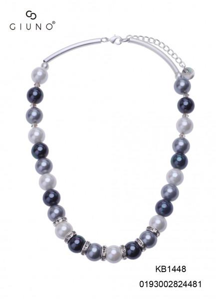 Kurze Perlenkette Mit Metallspangen