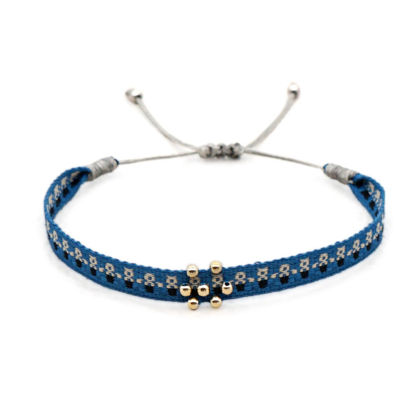 Schmales Stoffarmband Blau Mit Perlen