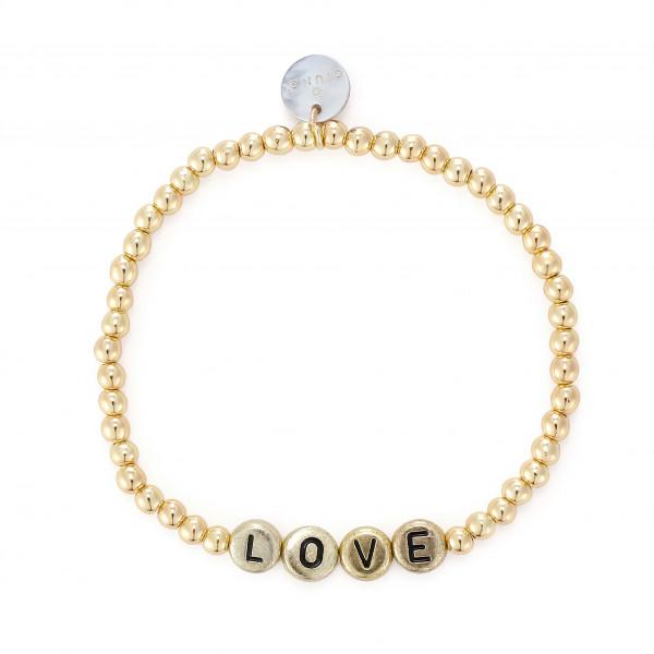 Love Armband Mit Gummizug In Gold