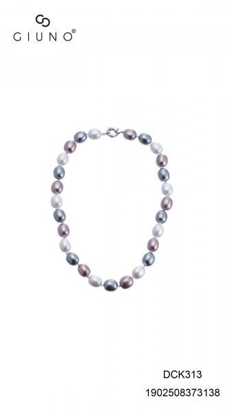 Perlenkette kurz oval lila/weiss/grau
