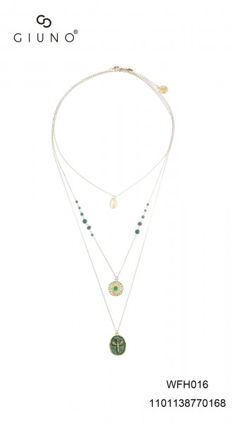Dreier Metallkette lang in Gold mit Kristall in grün