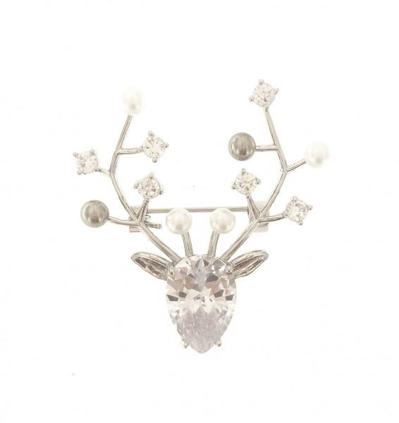 Kleine Elch-Kopf Brosche Mit Perlen In Silber