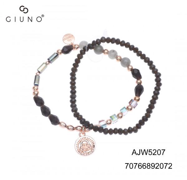 Kristallperlenarmband Schwarz Mit Buddhaanhänger Rosa