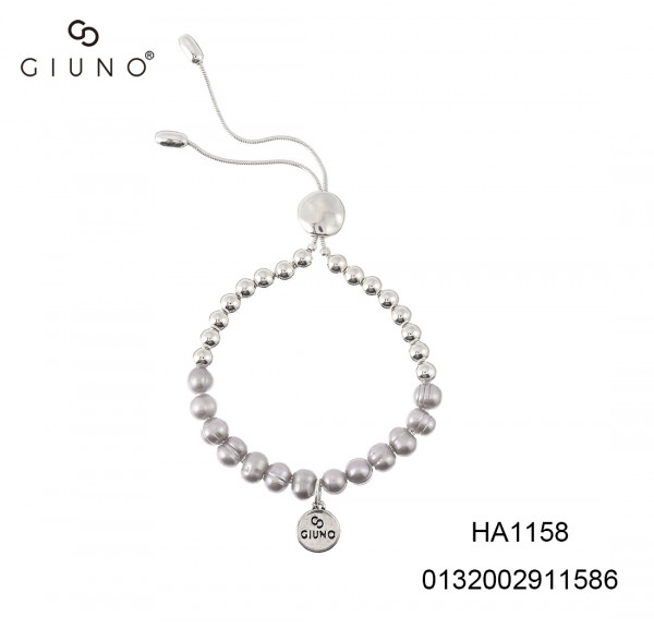 Schlaufenarmband Perlen grau mit Metallperlen silber