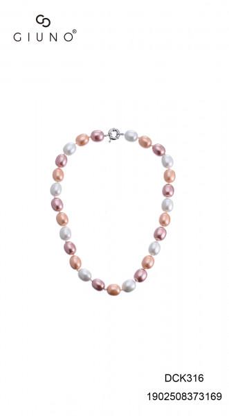 Perlenkette Kurz Oval Rosa-Weisstöne