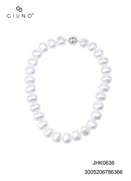 Perlenkette Weiss Oval