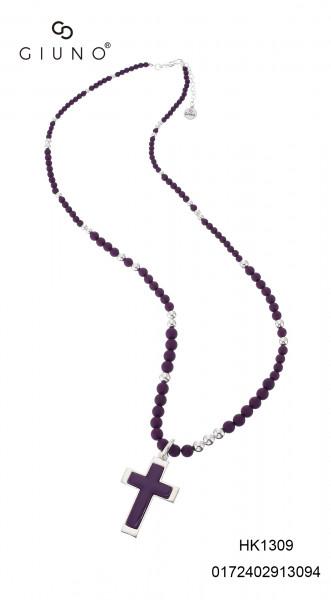 Kette mit Kreuzanhänger lavendel-silber