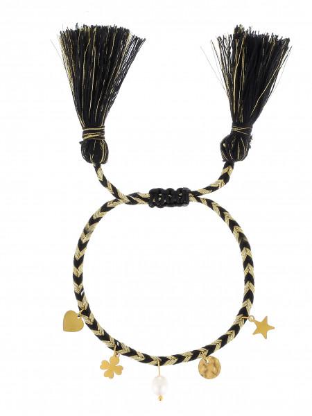 Gewebtes Armband Mit Anhänger &Perlen