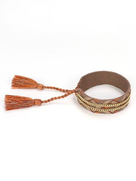 Stoffarmband Mit Kette-Kombination In Braun