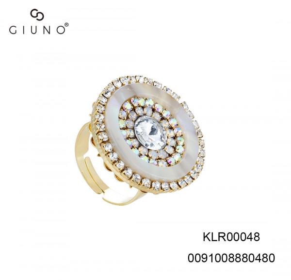 Ring In Hornoptik Mit Glassteinen Weiss One Size