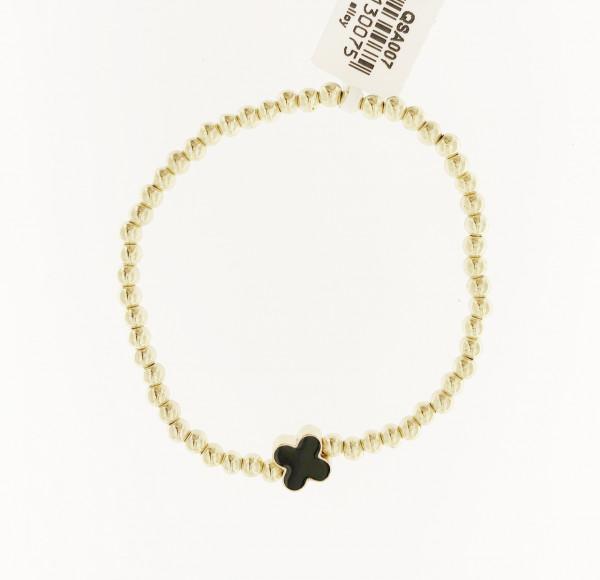 Perlenarmband Mit Blumen In Gold/Schwarz