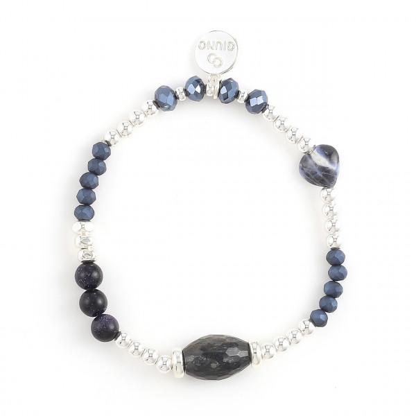 Armband Aus Stein/Metall/Kristallperlen Dunkel Blau