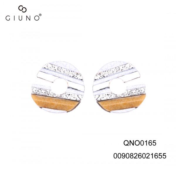 Ohrringe weiss/silber/braun gestreift mit offenem Spalt