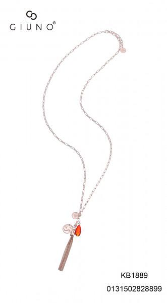 Kette lang rosè mit Quaste aus Metall rote Steinanhänge und Münzen