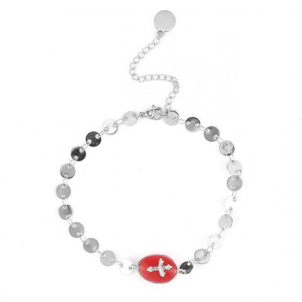 Edelstahl Armband Mit Natur Stein In Silber