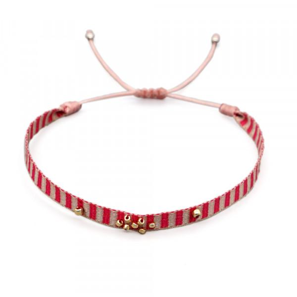Schmales Stoffarmband Pink/Beige